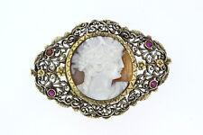 7853-750er Silber Brosche Antik m Gemme+Rubin Maße 4,5x3,5 cm Gewicht 10,8 Gramm