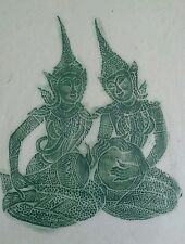 Vintage Bali gouache Hindu goddesses Ganesh & Saraswati painting