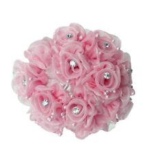 36 pink wedding bridal organza flower with rhinestone