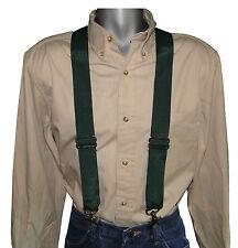 Heavy Duty Hunter Green Nylon Suspenders Scissor Trigger Snaps USA Made