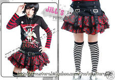 Punk Rock Gothic Tiered Plaid Buckle Mesh Corset Skirt red【JGFA130R】