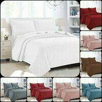 3PCSNew Modern Quilted Bedspread Bed Throw Comforter Set Single Double King Size