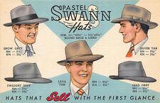 Louisville Ky Pastel Swan-Abram Hat Co. Curt Teich Linen Postcard