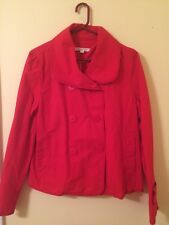 Ann Taylor Loft Size L Red Double Breasted Button Long Sleeve Cotton Jacket