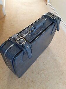 Travel Suitcase vintage / retro grey faux leather case 60 x 45 x 18.5 cm.