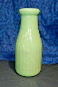 "JADEITE GREEN GLASS ""PROPERTY Of LIBERTY MILK CO INC BUFFALO NY"" Pint Bottle"