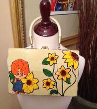 Vintage Wooden Handbag Purse Brass Hardware Yellow Redheaded Boy Flowers
