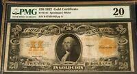 1922 $20 GOLD CERTIFICATE PMG20 VERY FINE, SPEELMAN/WHITE LEGAL TENDER, NICE