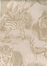 Jungle Animals Toile on a Tan Tweed Background Wallpaper  742143