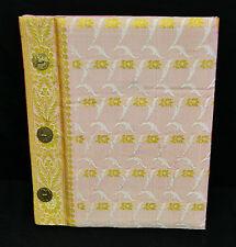 Fotoalbum 23x27cm Buch Brokat Sari Stoff Rosa HANDARBEIT Album Notizbuch Noa-6
