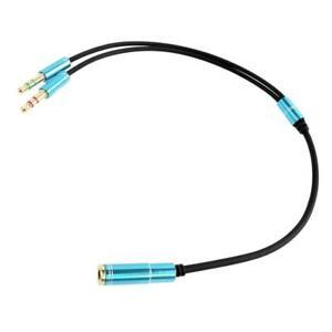 Blue Headphone Splitter Adapter Audio Female to 2X 3.5mm Male f Smartphone & PC
