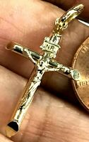 "GOLD Cross Pendant 10k real yellow Crucifix inri Jesus charm 1.25"""