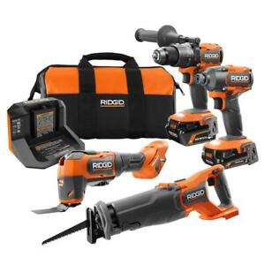 RIDGID 18V Brushless Cordless 4-Tool Combo Kit with (1) 4.0 Ah and (1) 2.0 Ah