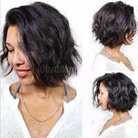 8A Remy Indian Human Hair Wig Short Pixie Wavy Straight Full Wig Black Women Tht