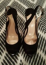 WITCHERY Black Heels Stilletos Leather Suede Shoes Sling Backs Size 36 rrp $169