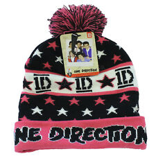 20 x  One Direction 1D Pink Black Winter Beanie Bobble Hat One Size Wholesale