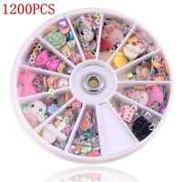 1200pcs Lots Wheel Mixed Nail Art Tips Glitters Rhinestones Slice Decor Manicure
