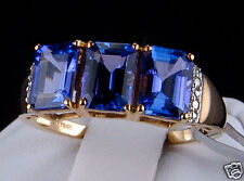 3.20cts AAA Graded Tanzanite Trilogy with Diamond Accents 10k Gold Ring, Size 7