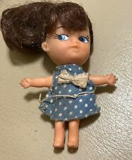 New listing Vintage LITTLE KIDDLE DOLL BY MATTEL/Hong Kong With Blue & White Dress