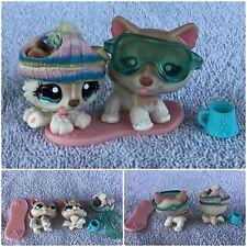 Littlest Pet Shop Polar Husky Dogs #1012 #1013 Mommy Baby Tan SNOW WINTER LOT