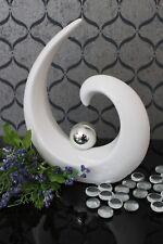 Deko Skulptur Keramik 21cm weiß silber Kugel abstrakt design Figur modern Tisch