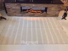 Natural Cream Striped Eco Friendly Recycled Cotton Reversible Washable Kilim Rug
