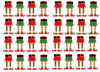 32 Christmas Elf Legs Cupcake Toppers Edible Wafer Paper Fairy Cake Toppers