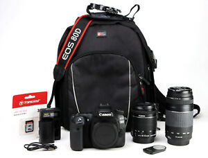 Canon 80D Camera Dual Lens Kit EF-S 18-55mm IS STM + 75-300mm III WiFi +1080p VG