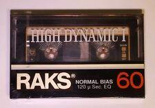 RAKS 60 min. High Dynamic I Sealed Blank Audio Cassette Tape w/ Head Cleaner NOS