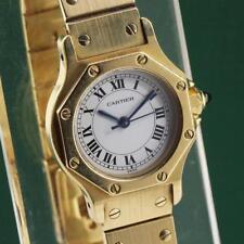 SANTOS de CARTIER OCTAGON 18K SOLID YELLOW GOLD AUTOMATIC LADIES WATCH