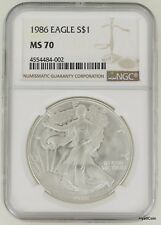 1986 Silver American Eagle Dollar $1 NGC MS70 Bright White!!!