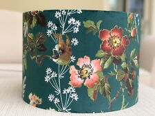 Handmade Lampshade Leighton Velvet Emerald Green Birds Floral Rose Retro Vintage