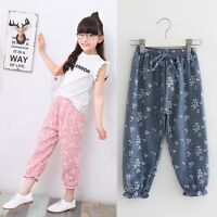 Summer Toddler Kid Baby Girl Leggings Floral Long Pants Trousers Lacing Bloomers