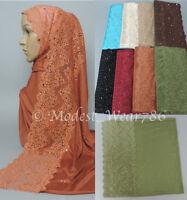 Premium Cotton Jersey Maxi Hijab Scarf Headcover Lace & Rhinestones 180X80 cm
