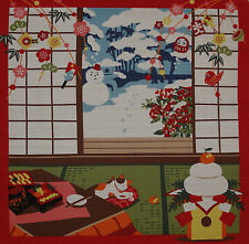 Furoshiki Japanese Fabric Cloth Kotaro the Cat and New Year's Mochi Cotton 50cm