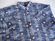 Vintage Monzini Collection USA Mens Retro Shirt Sz 2X-Large Blue 100% Polyester
