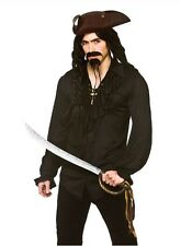 Camisa de pirata Gótica Medieval Mosquetero Negro Fancy Dress Costume MEDIO 42""