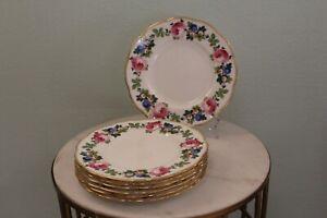 "7~Minton's Davis Collamore Pink Rose Floral Border Gold Rim 8 7/8"" Salad Plates"