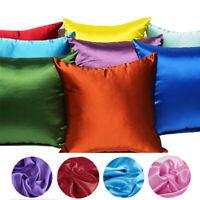 45*45cm Plain Luxury Square Cushion Cover Satin Throw Pillowcase Home Sofa Decor