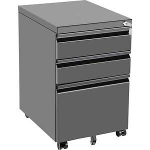 "VEVOR Office File Cabinets 19.7 x 15.6"" 3 Drawer Black File Cabinet with Lock"