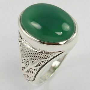 925 Sterling Silver Men's Jewelry Ring Size US 8.5 Natural GREEN ONYX Gemstone