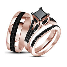 14K Rose Gold Over Diamond Wedding Bridal His Her Matching Bands Trio Ring Sets