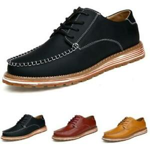 Mens Low Top Faux Leather Business Leisure Shoes Round Toe Work Office Lace up L
