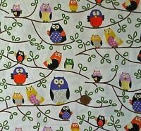 Cream Owls on Tree Branches Printed 100/% Cotton Canvas Fabric.