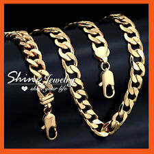 18K YELLOW GOLD GF S65 MENS WOMENS SOLID CURB RINGS CHAIN NECKLACE BRACELET SET
