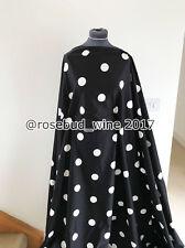 Retro 50's B/W Large Polka Dot/Spot Comfort Stretch Cotton Dressmaking Fabric