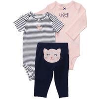 NWT Carters Baby Girls 3 Piece Bodysuit Set Clothes Newborn 6 9 12 18 24 months
