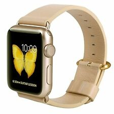 JSGJMY Apple Watch Band for 38mm Beige Genuine Leather Strap Gold Modern Buckle