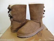 UGG BAILEY BOW WOMEN SHORT BOOTS SUEDE CHESTNUT US Youth 5 / Women 7