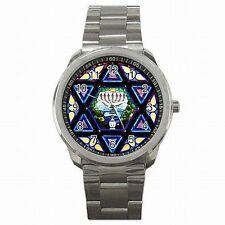 Star of David Jewish Jerusalem Synagogue Stainless Steel Sport Watch New!